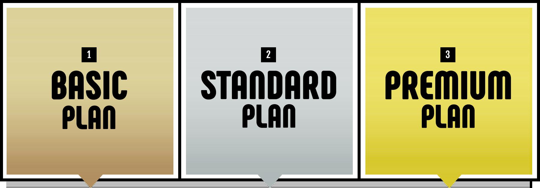 BASIC PLAN、STANDARD PLAN、PREMIUM PLAN